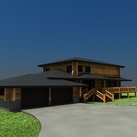 3ds max country log home