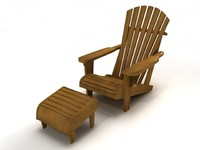Adirondack chair with footrest - High Quality Furniture 3d model