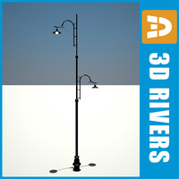 retro street lamp light 3d model