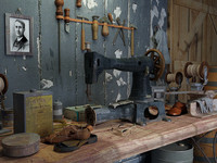 room of sewing  shoes