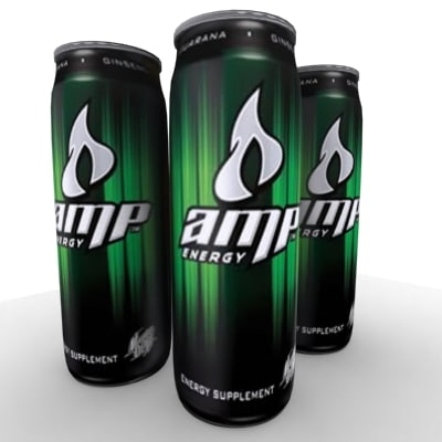 Green Amp Energy Drink 3d Model of Amp Energy Drink