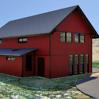 barn style home interior 3d max