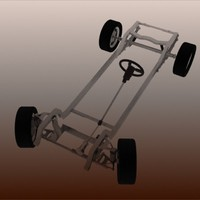 3d model car chassis steering wheels
