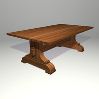 Trestle Table 3d Model