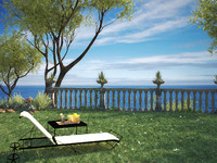 Leandro sunlounger and Toscana table