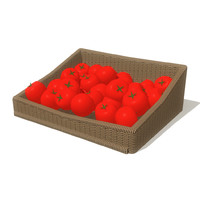 3d tomatoes basket model