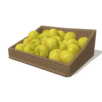 3d greenapples basket