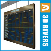 arrival indicator board airport 3d model