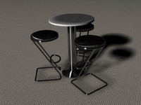 bar table chairs 3d max
