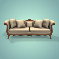 3d model old sofa simple