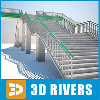 reinforced railway bridge concrete road 3d model