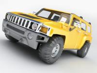 hummer h3 polygonal 3d model