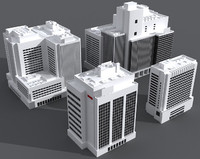 4 office buildings 3d model