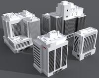 4 office buildings 3d model