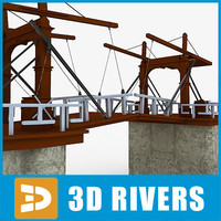 old wooden drawbridge bridge 3d model