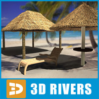 Deck chair and beach umbrella by 3DRivers