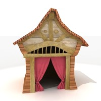 3ds traditional korean japanese hut house