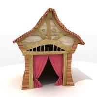 3ds traditional korean japanese hut house