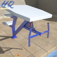 pool starting block 02 3d model