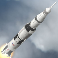saturn v apollo spacecraft 3d model