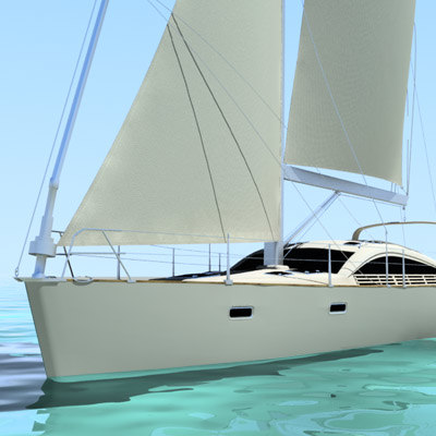 sailing yacht 3d model - sailing yacht... by lightshape