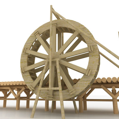 Water Wheel 3d Model Giant Water Wheel 3d Model
