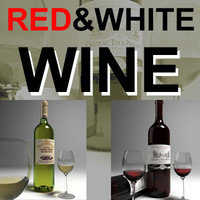 red and white wine with wineglass