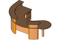 3d curved desk reception model