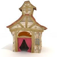 traditional korean japanese hut house 3d 3ds