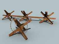 anti-tank barrier barbed wire 3d model