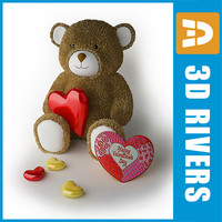 3d model of valentine bear heart