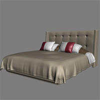 highend bed fluffy 3d model