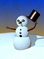3d snowy snowman model