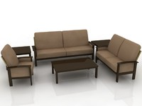5 seater Sofa Set - High Quality Furniture 3d model