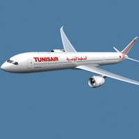 3d model of a350-1000 tunisair