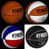 4 basketballs polygons 3d model