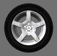 3d model 5-spoke mercedes-benz style rims