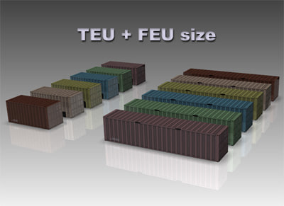 container field small TEU + FEU