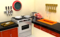 3d kitchen setting model