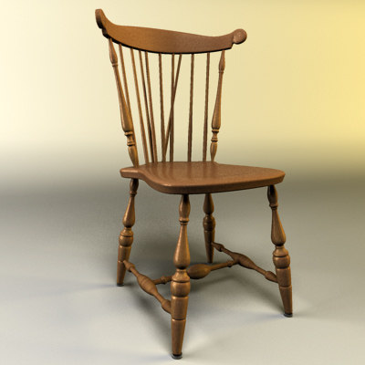 3d model wooden kitchen chair wooded