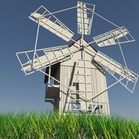 old windmill cartoon 3d model