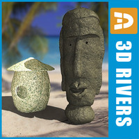3d stone lamp idol model