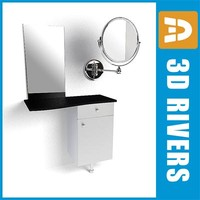 3d model salon styling unit mirror