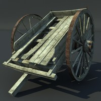 3d model old wooden wagon wood