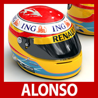 3d fernando alonso f1 helmet model