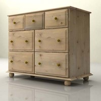Cupboard Chest of Drawers 3x3 from Harvest Oak Wood Bedroom Furniture Set - High Quality Furniture 3d model