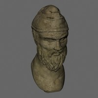 3d model of stone head bust