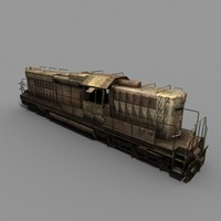 3d abandoned locomotive model