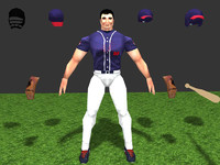 3d player baseball model