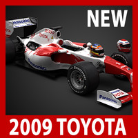 2009 F1 Panasonic Toyota TF109 (car, helmets, steering wheel and seat)